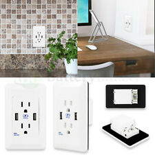 B2G1 Free Dual USB Port Wall Socket Charger Power Receptacle Outlet Home Panel
