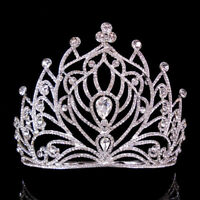 11.5cm High Crystal Wedding Bridal Party Pageant Prom Tiara Hair Crown Comb