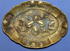 Vintage Small Solid Brass Floral Relief Plate