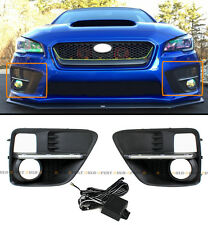FOR 2015-17 SUBARU WRX STi VA FOG LIGHT BEZEL COVER W/ WHITE LED DRL STRIP