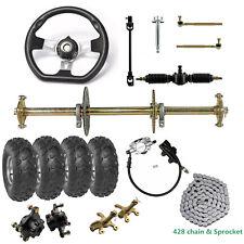 "DIY Go Kart 32"" Rear Axle Kit+Steering Wheel Knuckle Hub w/ Tie Rod + 8"" Wheels"