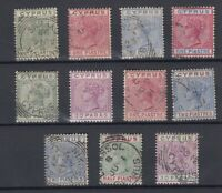 Cyprus QV 1882/1884 Collection Of 11 Values VFU JK893