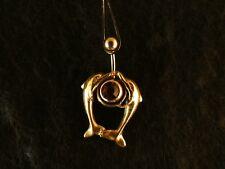 Piercing 24 Karat Gold Anhänger 925 Silber Delfine Bauchnabel Stein Orange