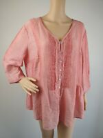 Gordon Smith Pink Pintuck Tunic Blouse Shirt / Size 16