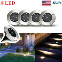 8 LED Solar Power Flat Buried Light In-Ground Lamp Outdoor Path Garden Decking