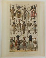 Océnie Lithographie par Nordmann habitants costumes de l'Océanie Oceania XIXè S