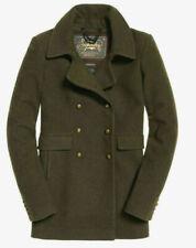 New Womens Superdry Military  khaki  premium winter Pea Coat LARGE A