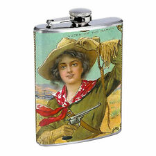 Vintage Cowgirl Hip Flask D1 8oz Stainless Steel Old Fashioned Retro