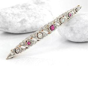 Brooch 585 Rose Gold/White Gold Ruby Diamonds