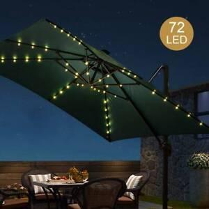 72 LED SOLAR GARDEN PARASOL UMBRELLA CHAIN LIGHT 8 STRUT FAIRY LIGHTS WARM WHITE
