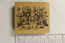 PSX K-1943 Bunnies Tea Party in Tulips and Daffodils Rubber Stamp