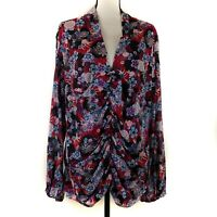 Bisou Bisou Top Womens Size 3X Red Black Floral Mesh Long Sleeve Ruched Lined