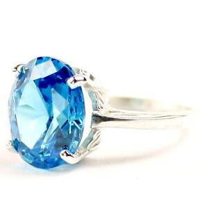 Glacier Blue CZ, 925 Sterling Silver Ladies Ring, SR055-Handmade