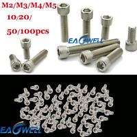 10/20/50/100x M3 M5 M6 M8 Metric Hex Socket Cap Head Screw Bolt Stainless Steel