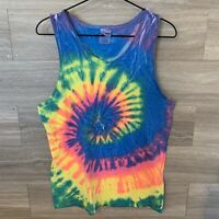 Vintage 1980s Colortone Rainbow Tie Dye Tank Top Sz M COACH