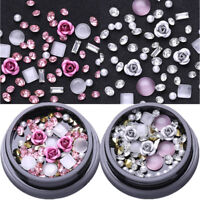 2 Boxes Pink Metal Rose Opal Crystal Rhinestones Beads 3D Nail Art Decoration