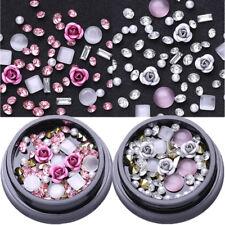 2 Boxen Rosa Metall Rose Opal Kristall Strasssteine Korn 3D Nail Art Decoration
