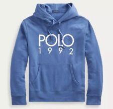 Polo Ralph Lauren: Cotton-Blend Graphic Hoodie{Size XL}{Bastille Blue}