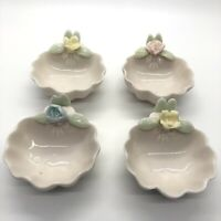 Vintage (4) Ceramic Shell Shaped Individual Nut Cups Scalloped Flowers Japan
