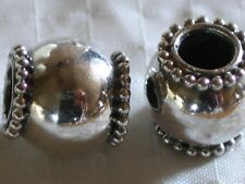 Bali sterlng silver beads~Shiny Daisy End-~10.5x11mm-4.8mm-metal-rondelle