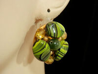 X Pretty Green Hues Givre Glass & Moonglow Thermoset Vintage 50s Earrings  269A4