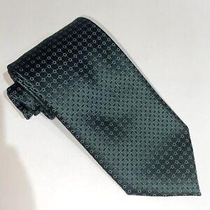 $220 Ermenegildo Zegna XXXXX Matte Sheen Green w/Blk Ribbons, Wht Dots Tie Italy