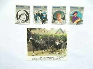 BAHAMAS: 1985 Q Mother Birthday 4 stamps & sheet VFU  Sg713/MS716