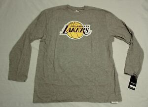 Los Angeles Lakers Men's Fanatics L/S Primary Logo T-Shirt SV3 Gray Size 2XL NWT