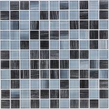 Glasmosaik Fliesen schwarz grau gestreift Dusche Küche Fliesenspiegel | ES-53209