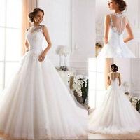 White Ivory Wedding Dress Sleeveless Bridal Gown Bride Proms Party Deb Custom Sz