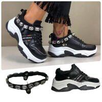 Scarpe da Donna Sneakers Ginnastica Casual Sportive Fitness Running Basse Pietre
