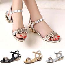 Summer Women Shoes Shiny Rhinestone Open Toe Slip On Low-heeled Sandals Deluxe