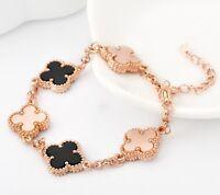 Women's Girl's 18K Rose Gold GF 13mm Clover Lucky Flower Pendant Charm Bracelet
