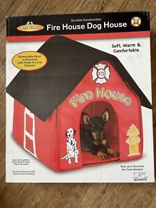 FIRE HOUSE Portable Indoor Soft Fabric Small Dog House Removable Cushion/Roof
