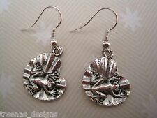 CUTE FROG ON LILY PAD Earrings SP Gift Bag New