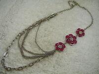 Silvertone Scoop Chain Off Set Plum Rhinestone Flower Necklace  (A3)