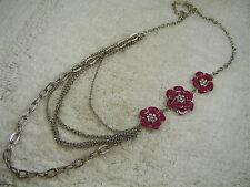 Plum Rhinestone Flower Necklace (A3) Silvertone Scoop Chain Off Set
