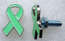 Celiac Disease Awareness, green ribbon license plate bolts,plated silvertone