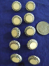 VINTAGE 10 SILVER/IVORY CENTER UNIQUE BUTTONS  CRAFTS/COLLECTABLE/SEWING