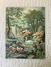 """VNTG 1960'sPaint by Numbers Painting - Swan, Mountains, Waterfalls Size: 16""""x12"""""""