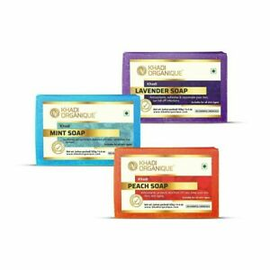 Khadi Organique Peach 1,Lavender 1 And Mint Soap 1 Combo ( Pack of 3 ) 3X125gms