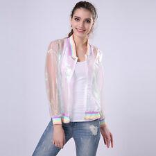 Transparent Punk Jacket Rainbow Iridescent Organza Polyester Clear Collar Damen