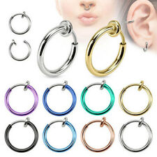 AU_ FT- 2 Pcs Fake Clip on Spring Nose Septum Ring Earring Non Piercing Jewelry