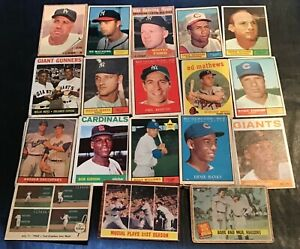 """1952 - 64 Topps BB """"Crying Shame"""" lot, 100 diff...Ted, Ruth, Koufax, Mays, HOF"""