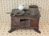*True Antique 1895 Tin Stove, Accessories Miniature Stamped Saxony - German Made