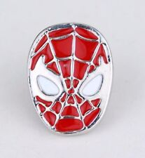 Spiderman Brooch 2D Silver Tone Pin Not Cufflinks Spider Man Badge White Red