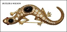 VINTAGE UNSIGNED BUTLER AND WILSON GOLD RHINESTONE LIZARD BROOCH--BOOK PIECE