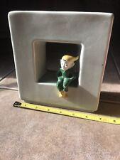 Vtg Elf On A Shelf Planter Wall Pocket Ceramic Vintage Green Yellow Hat