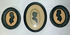 VINTAGE SET OF THREE BENTON GLASS SILHOUETTE PICTURES IN BLACK FRAMES