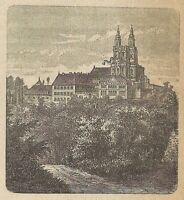 A3125 Banzi - Veduta - Stampa Antica del 1887 - Incisione